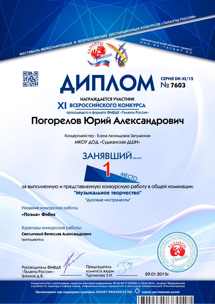 Наградные документы Таланты России  7603